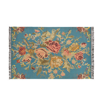 Hand-woven wool rug with floral motif