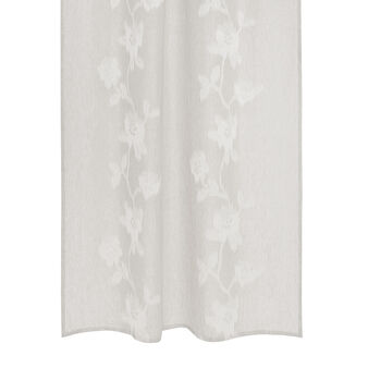 Curtain in 100% linen with floral embroidery
