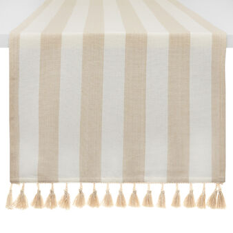 100% cotton striped table runner with tassels