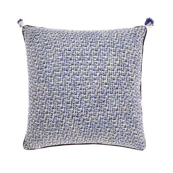 Cushion with braided weave and tassels