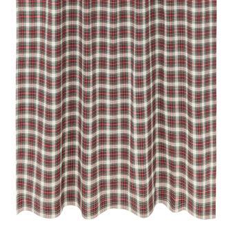 Tartan cotton curtain with hidden loops