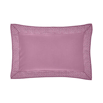 Cushion in cotton percale with broderie anglaise trim