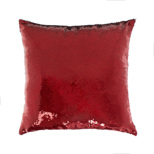Cuscino con paillettes rosse 45x45cm