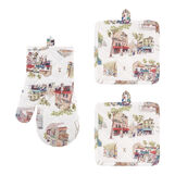 Set of 2 pot holders and oven mitt with Montmartre print