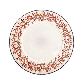 Glass charger plate with corals decoration