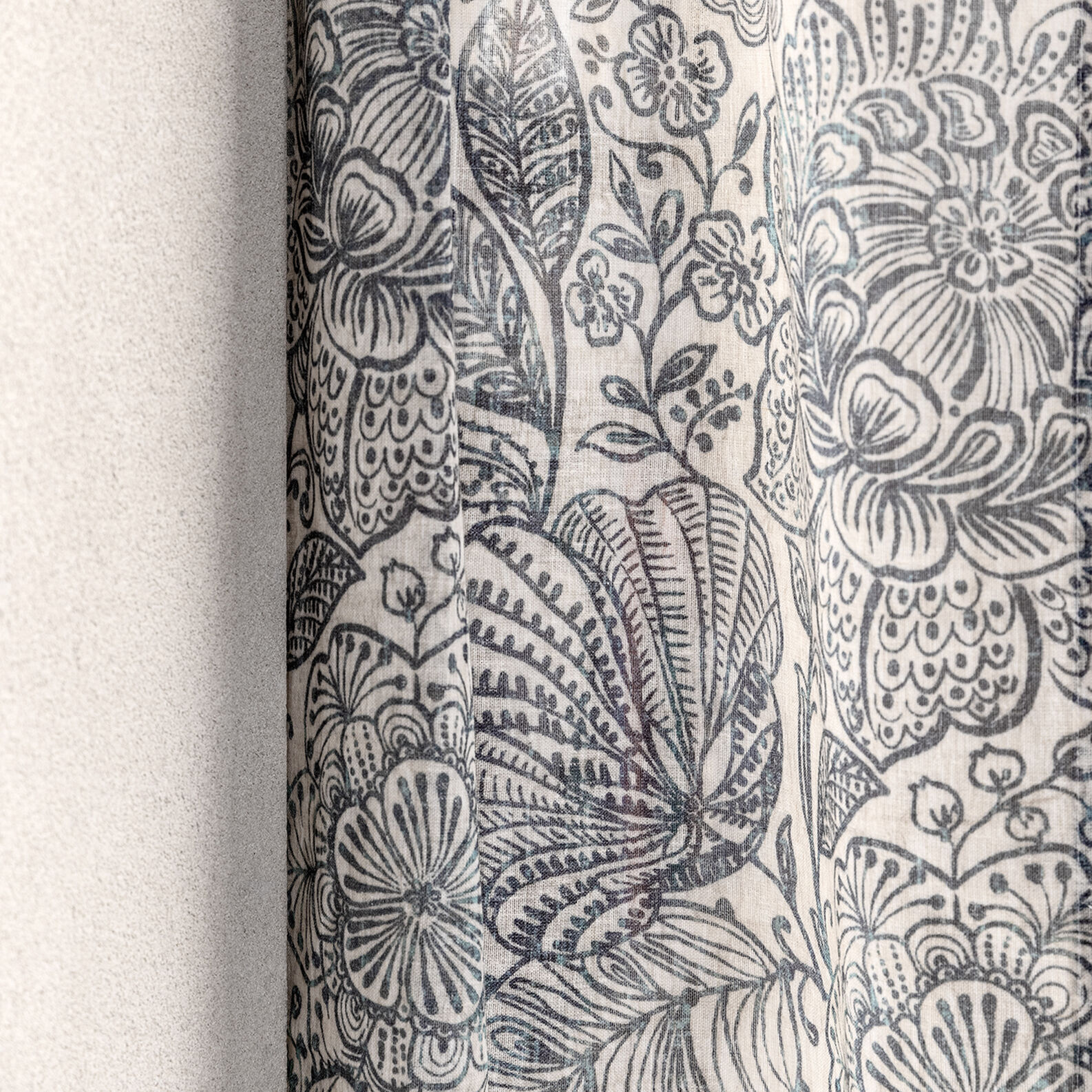Tenda misto lino stampa fiori