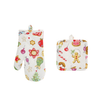 Children's cotton twill oven mitt and pot holder set with Christmas print by Sandra Jacobs design