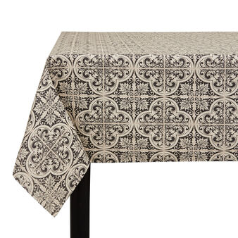 Water-repellent cotton tablecloth with majolica motif
