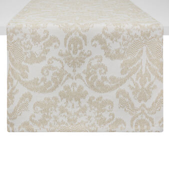 Table runner with damask design and lurex inserts
