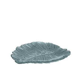 Leaf-shaped glass plate