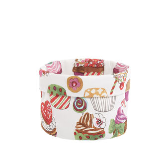 Cotton twill basket with cupcakes print by Sandra Jacobs design