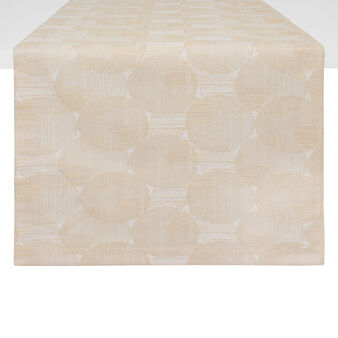 Cotton blend table runner with sphere motif