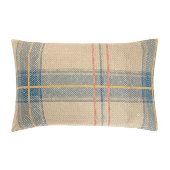 Cotton percale pillowcase with tartan pattern