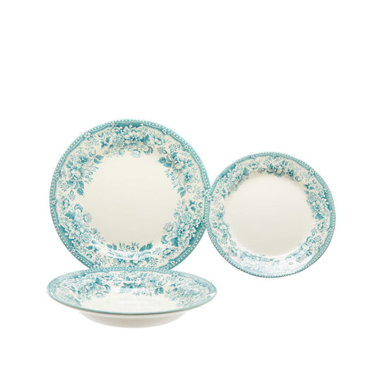 Set 18 piatti ceramica decoro roselline