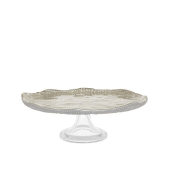 Cake stand in chromed glass