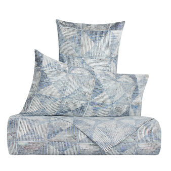 Duvet cover set in 100% cotton with geometric pattern