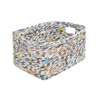 Basket in woven recycled paper
