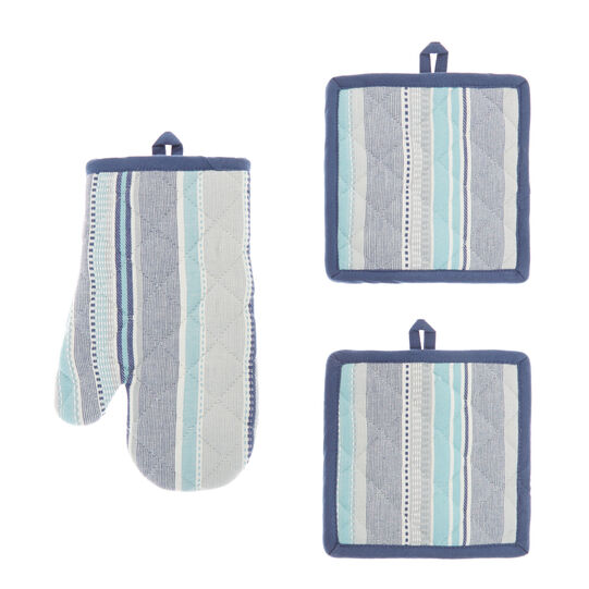 2 pot holders and oven mitts in 100% yarn-dyed cotton with stripes