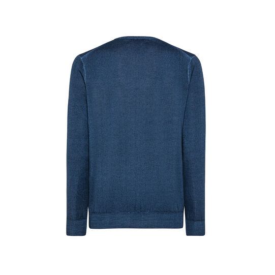 Merino wool pullover with round neck