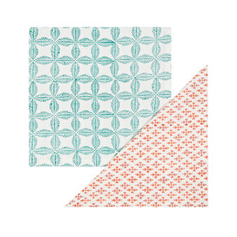 Set of 2 hand-printed napkins in 100% cotton