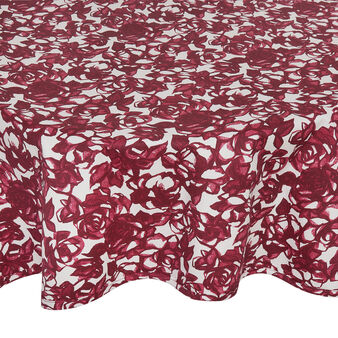 100% cotton round tablecloth with rose print
