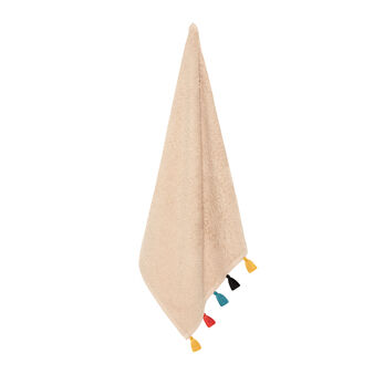 Cotton terry tea cloth with tassels