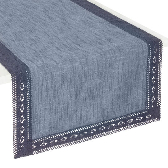 Iridescent cotton mélange runner with lace