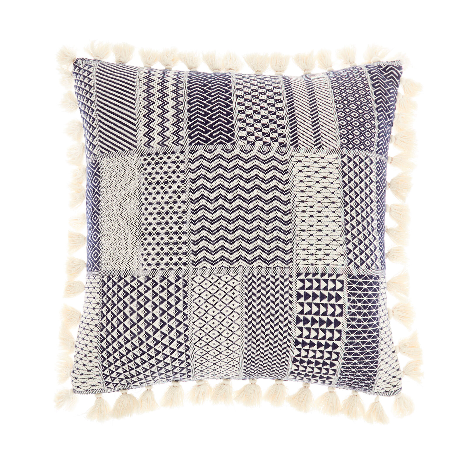 Geometric patchwork cushion