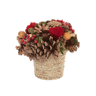 Hand-made basket of flowers and pine cones