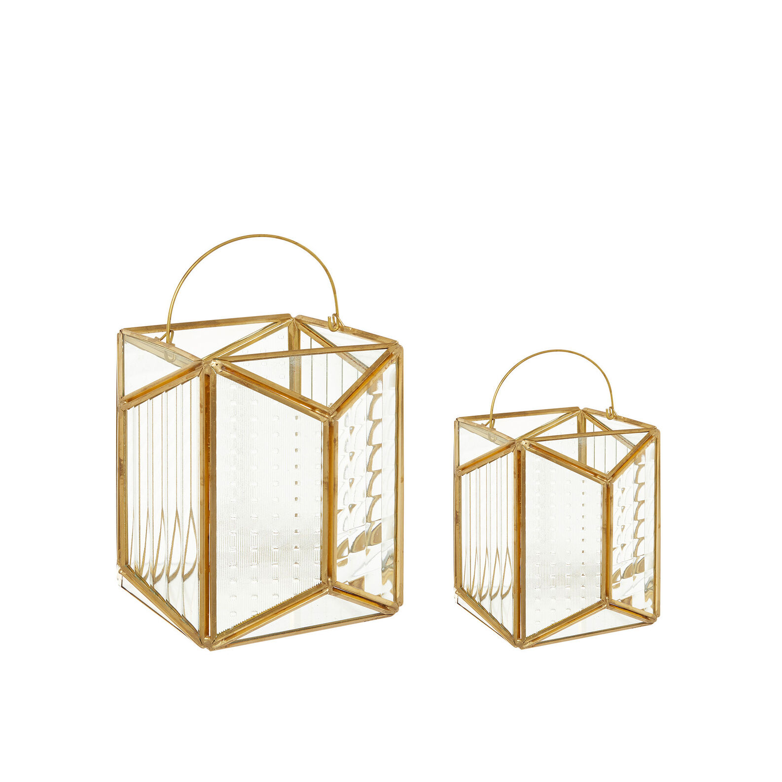 Lantern in metal and glass