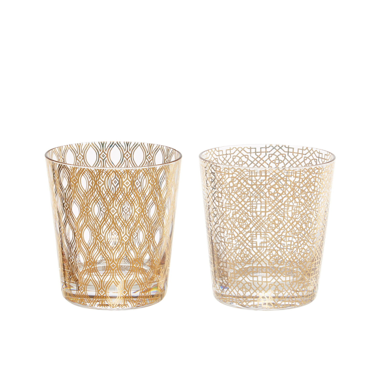 Glass tumblers with gold decoration