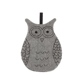 Owl-shaped mélange pot holder in 100% cotton