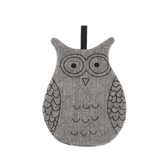 Owl-shaped mélange pot holder in 100% cotton