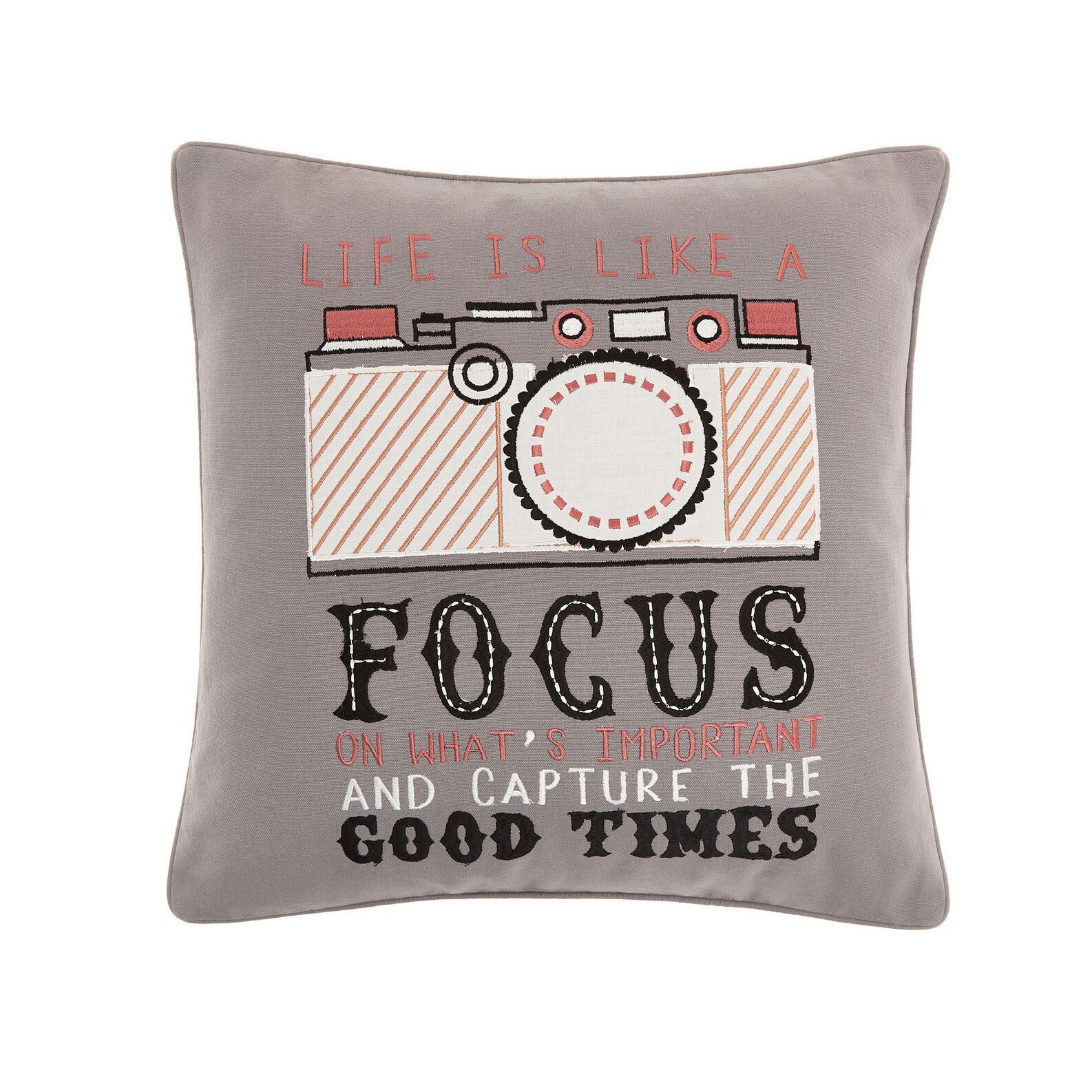 Cushion with embroidered motif 45x45cm