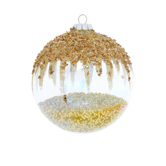 Hand-decorated speckled bauble D8cm