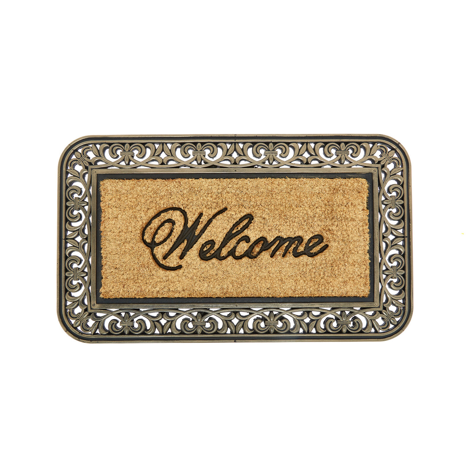 Welcome doormat in coconut and rubber