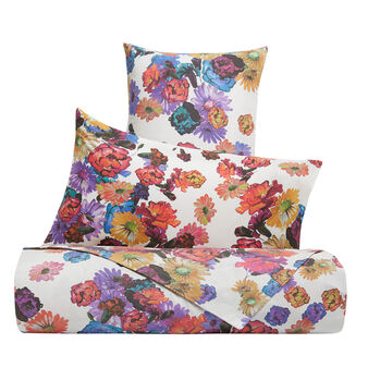 Flat sheet in cotton percale with floral pattern