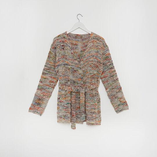 Melange knitted cardigan with belt
