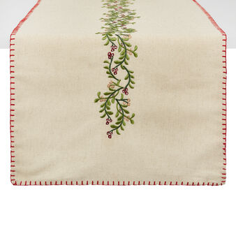 Table runner in 100% cotton with mistletoe and berries embroidery
