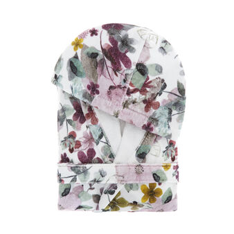 Cotton velour bathrobe with flower print