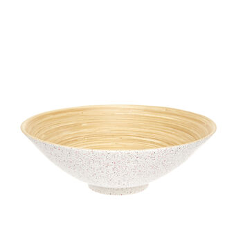 Bamboo salad bowl with dots decoration