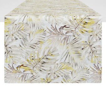 Cotton twill table runner with leaf print