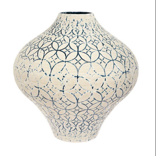Hand-crafted, engraved and enamelled vase in Portuguese ceramic