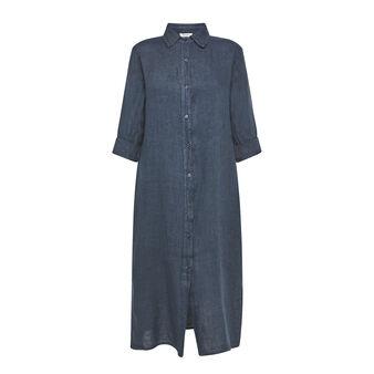 Shirt dress in plain 100% linen