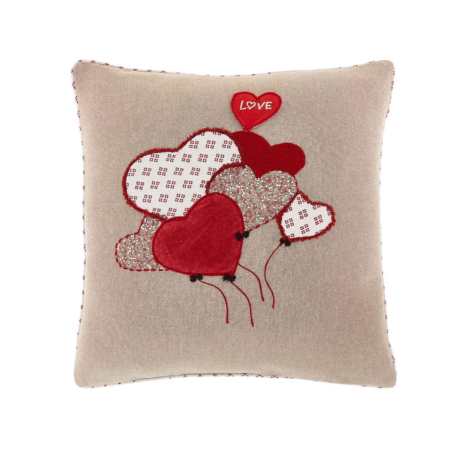 Cushion with applications and embroidery 45x45cm