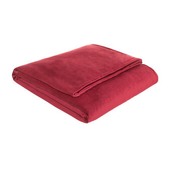 Solid colour, suede-effect throw
