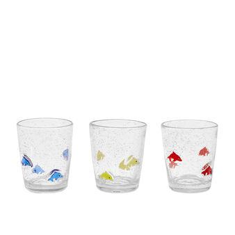 Bicchiere vetro decoro pesci murrina