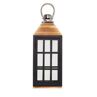 Metal and wood lantern