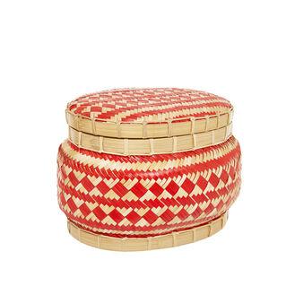 Hand-woven bamboo basket