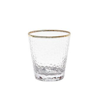 Bicchiere vetro martellato filo oro